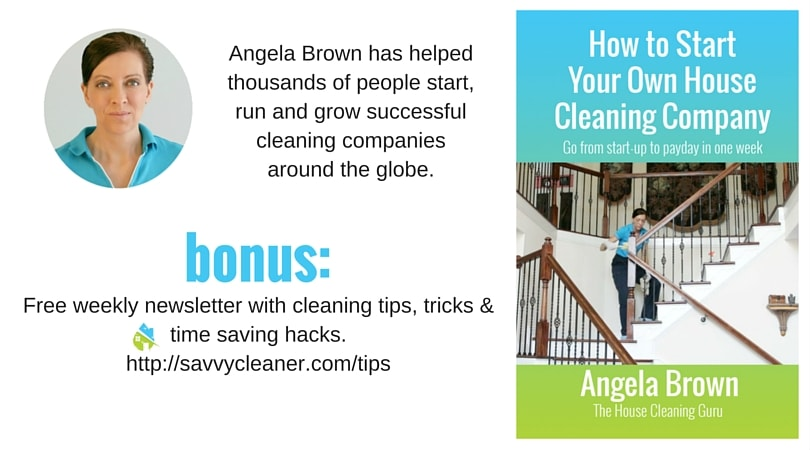 Angela Brown with book how to start your own house cleaning company-min