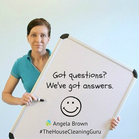 Got Questions written on whiteboard, Angela Brown, The House Cleaning Guru