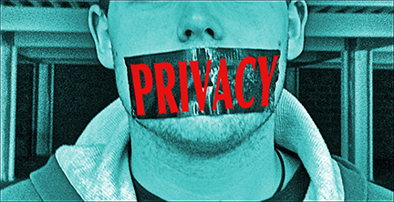 man with duct tape on his mouth with the word privacy written on it_m