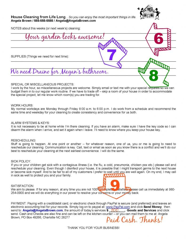 Savvycleaner House Cleaning Worksheets Page 3