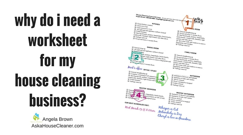worksheets for your house cleaning business  savvycleaner