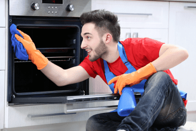 Fired from House Cleaning, Man Cleaning Oven