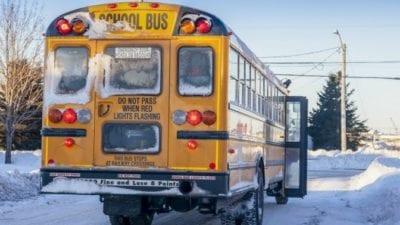 Imagine stuck behind school bus snow