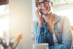 Lady talks on phone