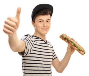 Teenager with Sandwich