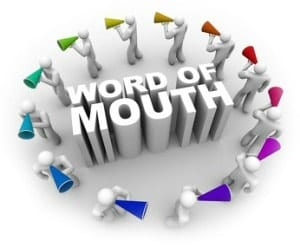referrals word of mouth people blowing horns