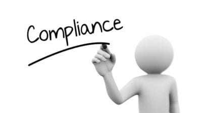 3d man writing the word compliance - no excuses