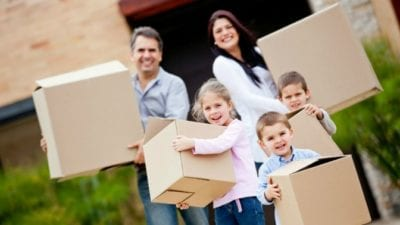 Family travel with moving boxes