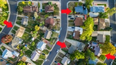 aerial view neighborhood cutting down travel time for house cleaners