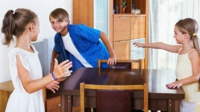 kids playing in kitchen, leave and go outside while Mom makes dinner