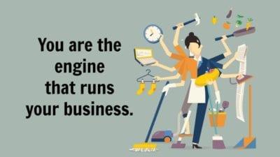 woman multi tasking engine that runs business, close to burnout
