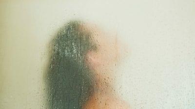 Murky shower glass doors