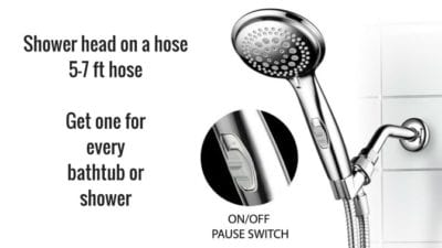 Shower head on a hose for cleaning shower doors and shower floor