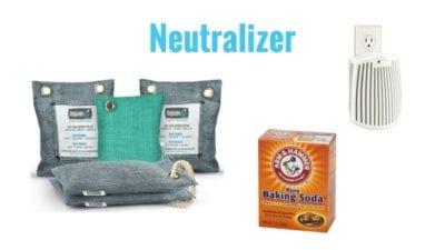 Neutralize odor, charcoal pillows, baking soda, plugins, odor eliminator