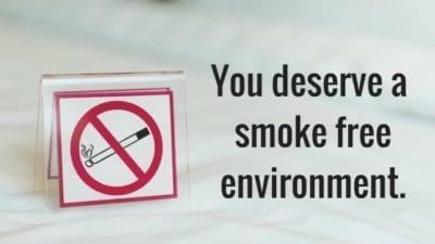 No smoking sign, odor eliminator
