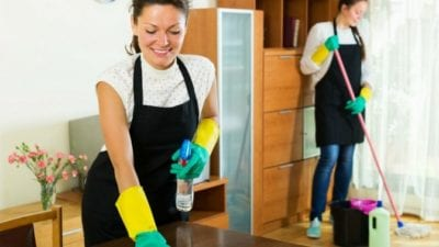 Hire me, Happy house cleaner cleaning house