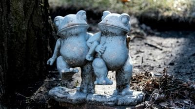 grief hoarding frog garden statues