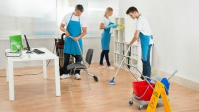 its not that bad - house cleaners mopping floors