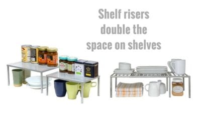 Kitchen Cupboard Hacks, Pull Out Shelves, Shelf Risers