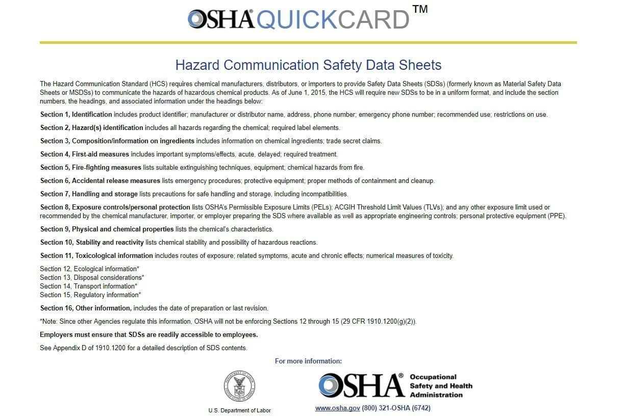 OSHA Quick Card Safety Data Sheets