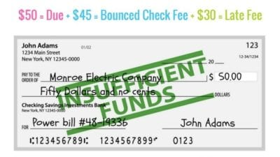 Bounced check needs organizing skills for finances