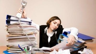 Habits lady organizing documents