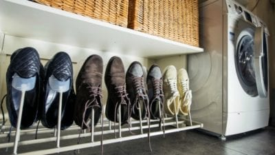 House in organizing mode, shoes on rack