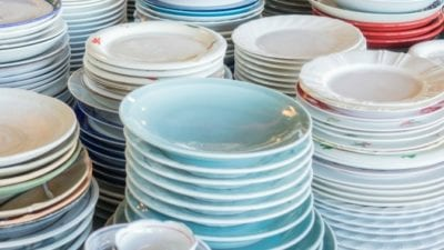 Organized Hoarders stacks of dishes