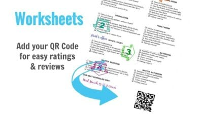 QR Code on Worksheet for Ratings and Reviews