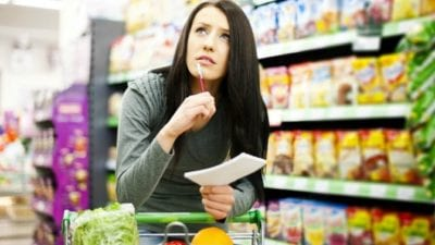 Organizing vs. House Cleaning lady in grocery store shopping for dinner