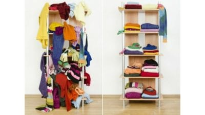 organizing vs. house cleaning - messy shelf next to an organized one