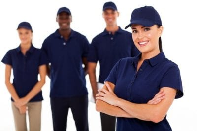 Advertising, Cleaning Team in Uniforms