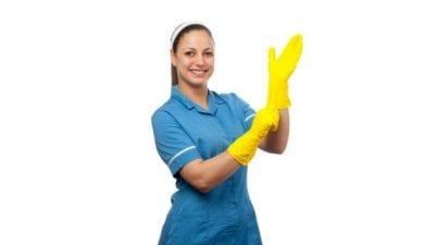 Advertising, Female House Cleaner in Uniform
