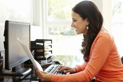 Advertising, Female Looking at Computer