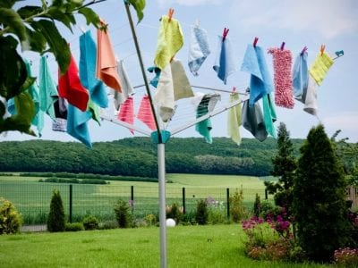 Microfiber Cloths, Cloths Hung Outside to Dry on Drying Rack