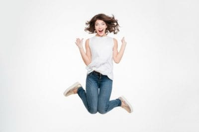 1 Star Review, Woman Jumping For Joy
