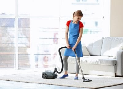 Backpack Vacuums, Smiling House Cleaner Vacuuming
