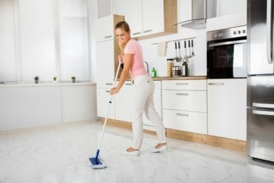 Extra Charge for Extra People, Woman Mopping