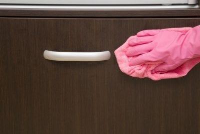 Furniture Polish, Microfiber on Cabinet