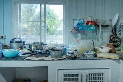 Hardest Job, Hardest Money, messy kitchen