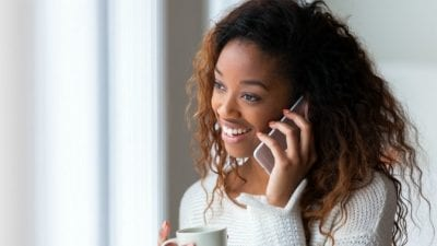 Haters African American Woman on the Phone smiling