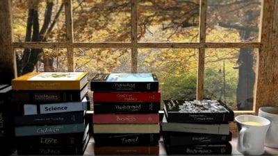 Hoarding Books in coffee shop window