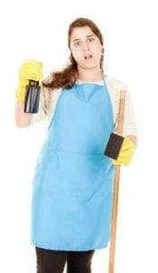 One-Offs, Surprised Woman in Cleaning Uniform