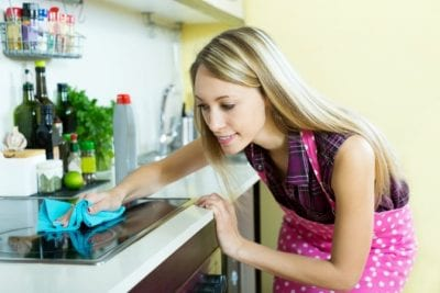 Annual Cost of Cleaning Supplies, Woman Cleaning Stove