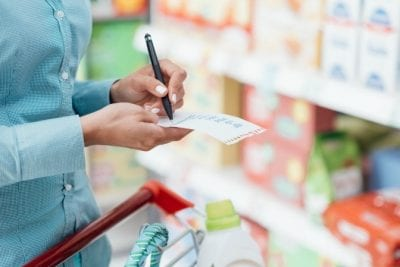 Annual Cost of Cleaning Supplies, Woman Shopping With Shopping List