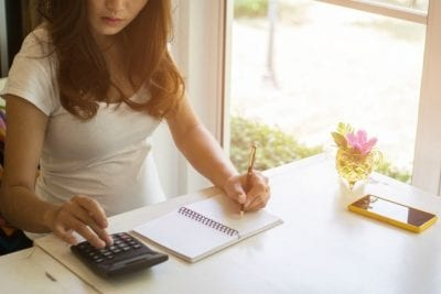 Annual Cost of Cleaning Supplies, Woman With Calculator