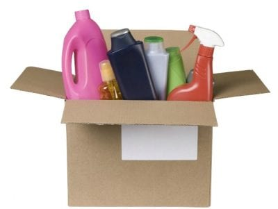 Incompatible coworkers, Cardboard Box of Cleaning Supplies