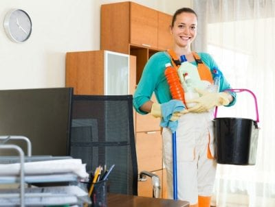 Incompatible coworkers, Woman With Arms Full of Cleaning Supplies