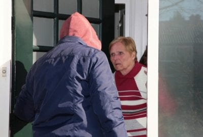 Male House Cleaners, Woman Opening Front Door to Shady Character