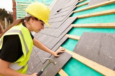 Male House Cleaners, Woman Roofer